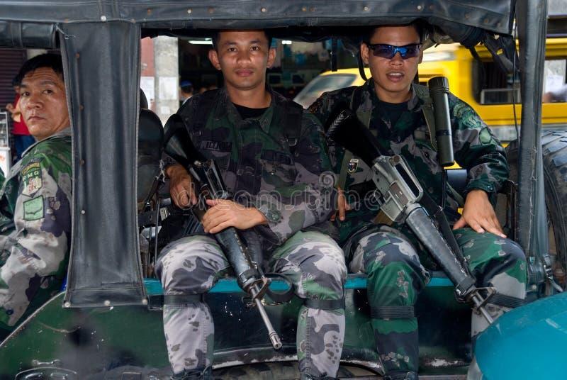 Mindanao military city patrol royalty free stock photo