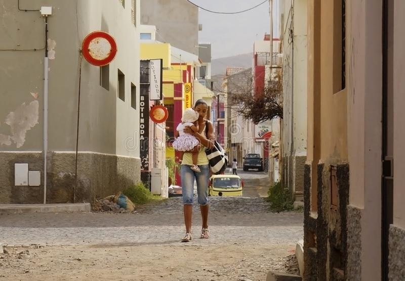 Mindelo, Cape Verde, Africa, the inhabitants of the city. royalty free stock photos