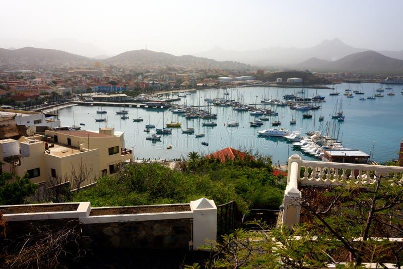 Mindelo Marina krajobraz, przylądek Verde obrazy stock