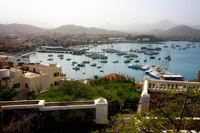 Mindelo Marina Landscape, Kaapverdië stock afbeeldingen