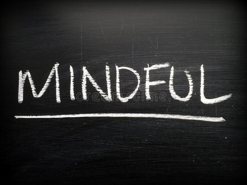 Mindful on a Blackboard royalty free stock image