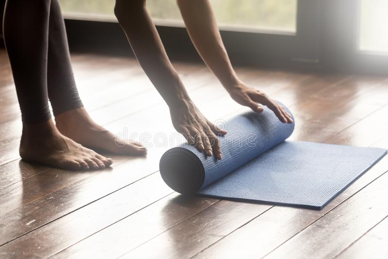 Mindful meditation or fitness session at home concept stock photos