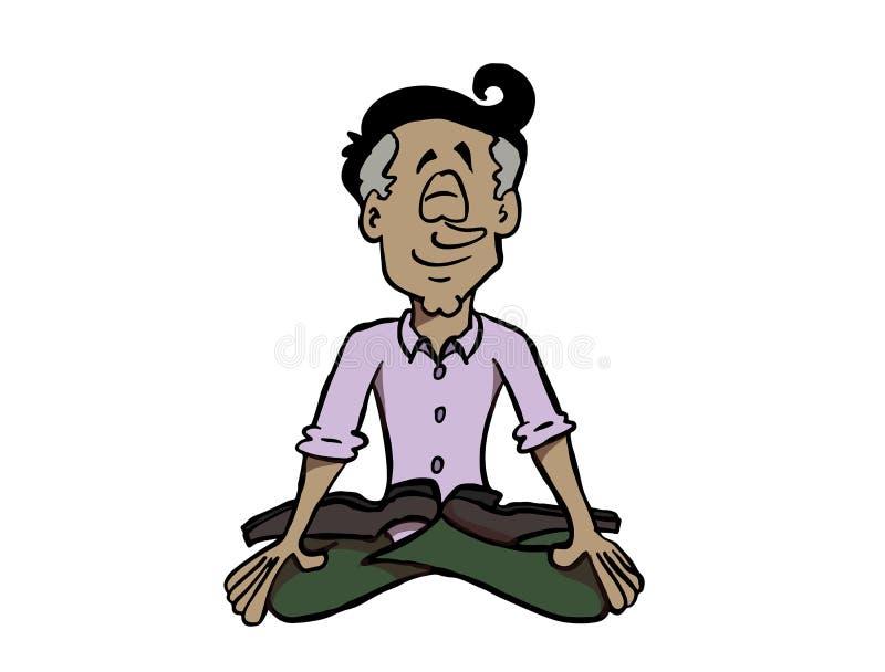 Mindfulness или размышлять латинского человека практикуя иллюстрация вектора