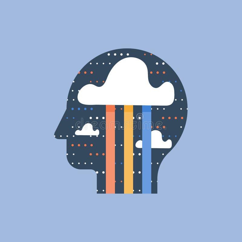 Mindfulness и положительный думать, концепция бредовой мысли, творческие способности и воображение, счастье и хорошее настроение иллюстрация штока