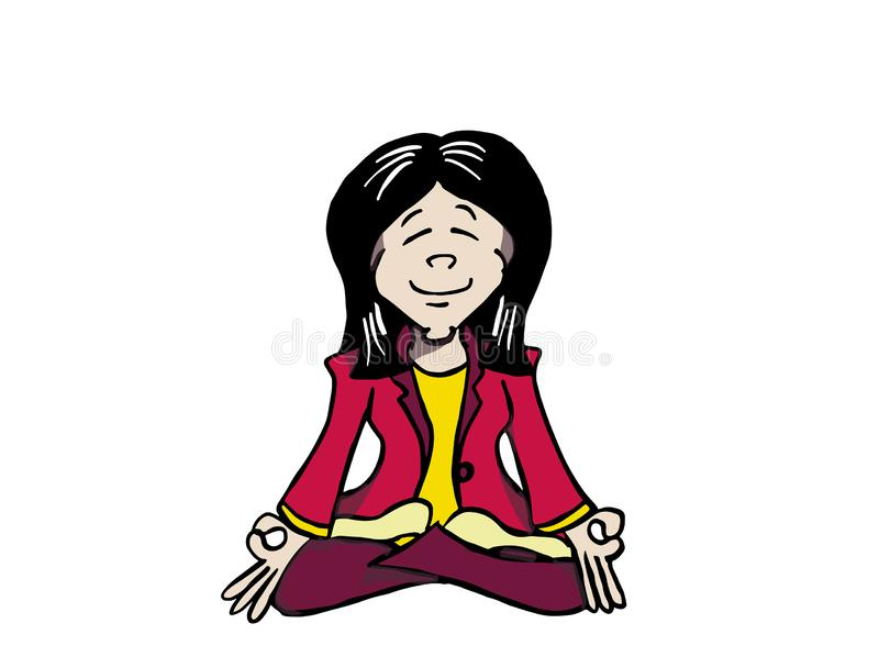 Mindfulness молодой азиатской женщины практикуя - Ji бесплатная иллюстрация