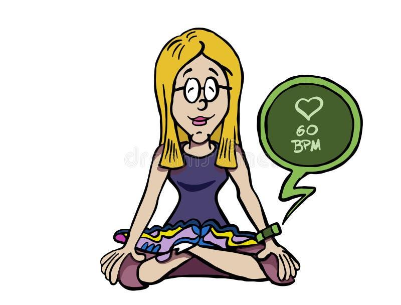 Mindfulness молодой женщины практикуя и отслеживать ее ИМП ульс иллюстрация штока