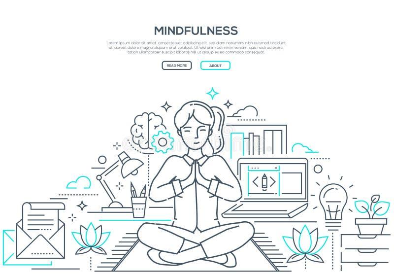 Mindfulness - современная линия знамя сети стиля дизайна бесплатная иллюстрация