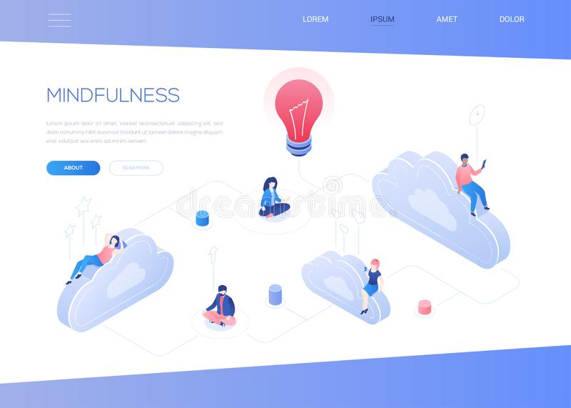 Mindfulness concept - modern isometric vector web banner. With copy space for text. A website header with business people, male, female characters sitting in vector illustration