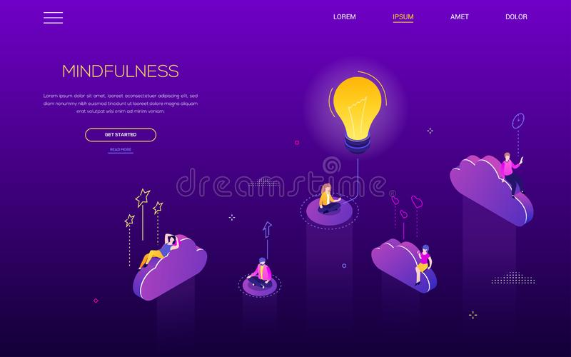Mindfulness concept - modern isometric vector web banner. On purple background with copy space for text. A header with business people, characters sitting in vector illustration