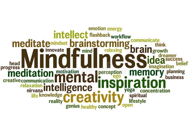 Mindfulness, concepto 3 de la nube de la palabra imagenes de archivo