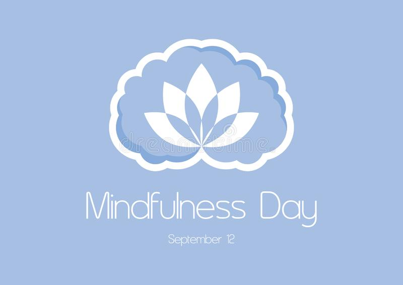 Mindfulness Day vector. Brain graphic icon. Mindfulness brain vector. Brain silhouette isolated on a blue background. Mindfulness Day Poster, September 12 stock illustration