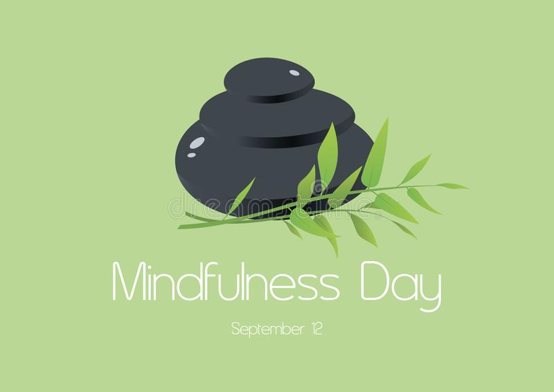 Mindfulness Day vector. Lava stones with bamboo vector. Pile of massage stones vector. Mindfulness Day Poster, September 12. Important day stock illustration