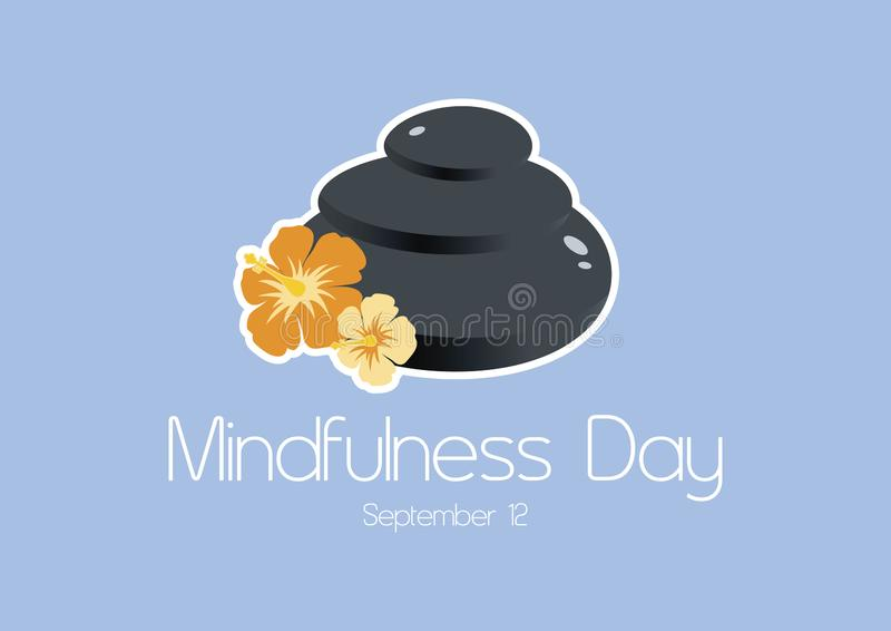 Mindfulness Day vector. Lava stones with flowers vector. Pile of massage stones vector. Mindfulness Day Poster, September 12. Important day vector illustration