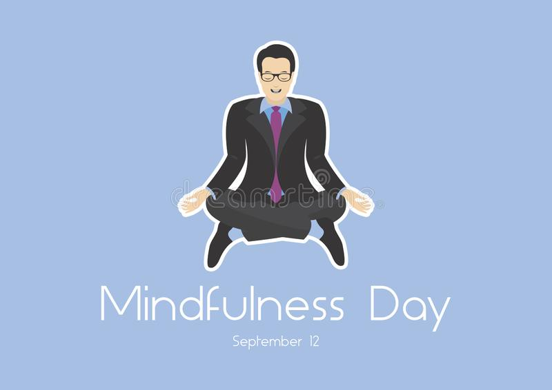 Mindfulness Day vector. Yoga business man vector illustration. Office man in yoga position. Meditating business man icon. Office man sitting in lotus pose vector royalty free illustration