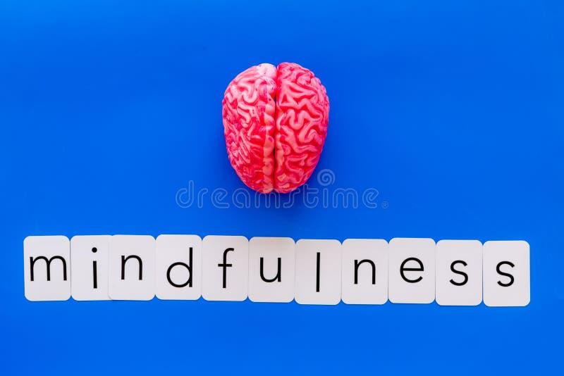 Mindfulness en meditatieconcept met hersenen op blauwe hoogste mening als achtergrond royalty-vrije stock afbeeldingen