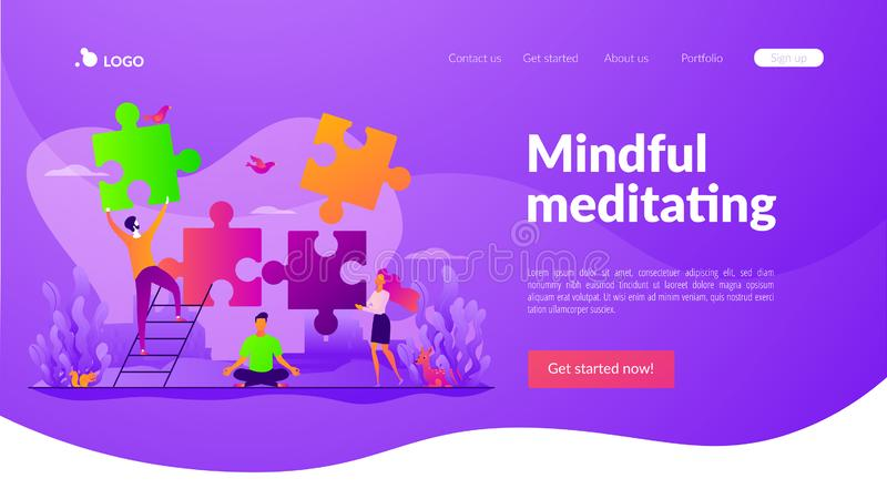 Mindfulness landing page template. stock illustration