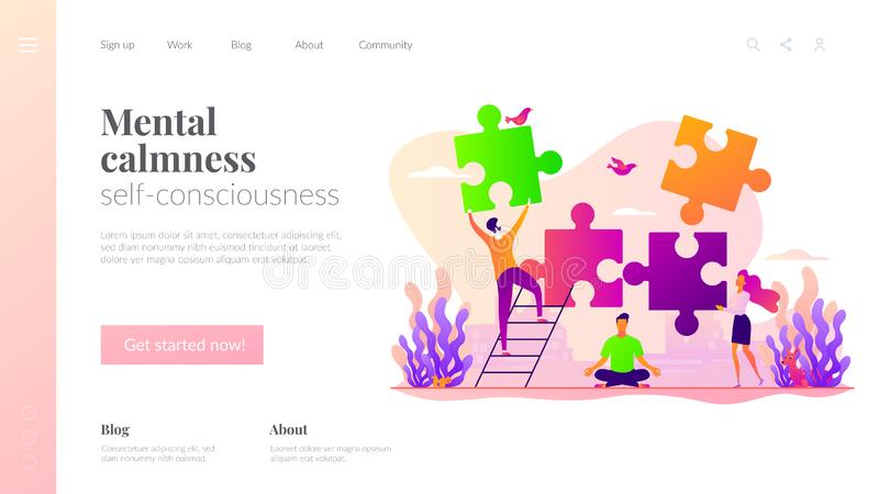 Mindfulness landing page template. vector illustration