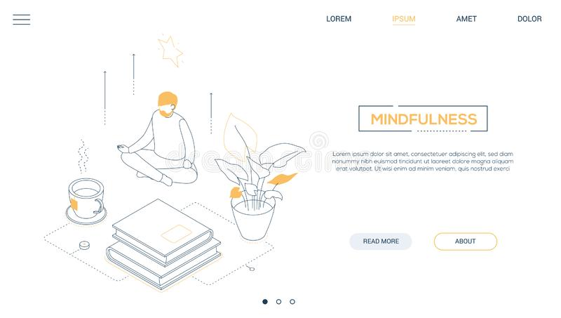 Mindfulness - line design style isometric web banner. On white background with copy space for text. A header with a man sitting in lotus position, trying to vector illustration