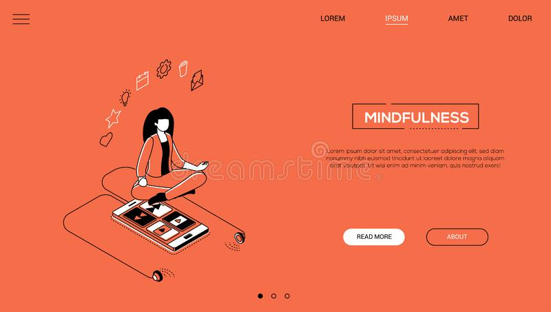 Mindfulness - line design style isometric web banner. On orange background with copy space for text. A header with a woman in lotus position, smartphone with vector illustration