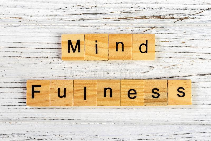 mindfulness made with wooden blocks concept. Yoga, succeed, open-minded royalty free stock photography