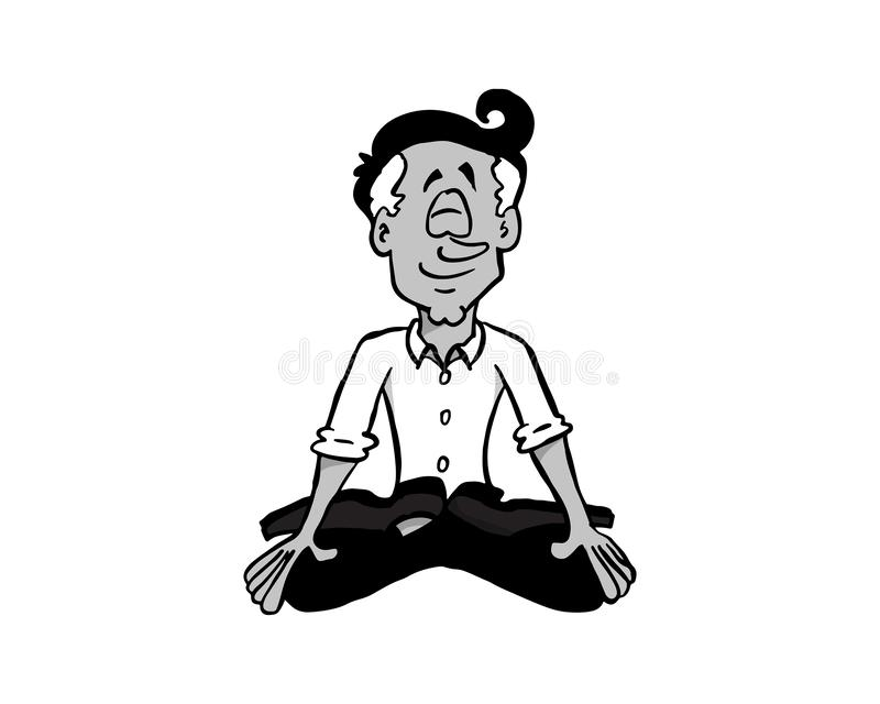 0003 Mindfulness Manuel BW. Character latin man Manuel sitting in Lotus position and meditating, practicing mindfulness stock illustration