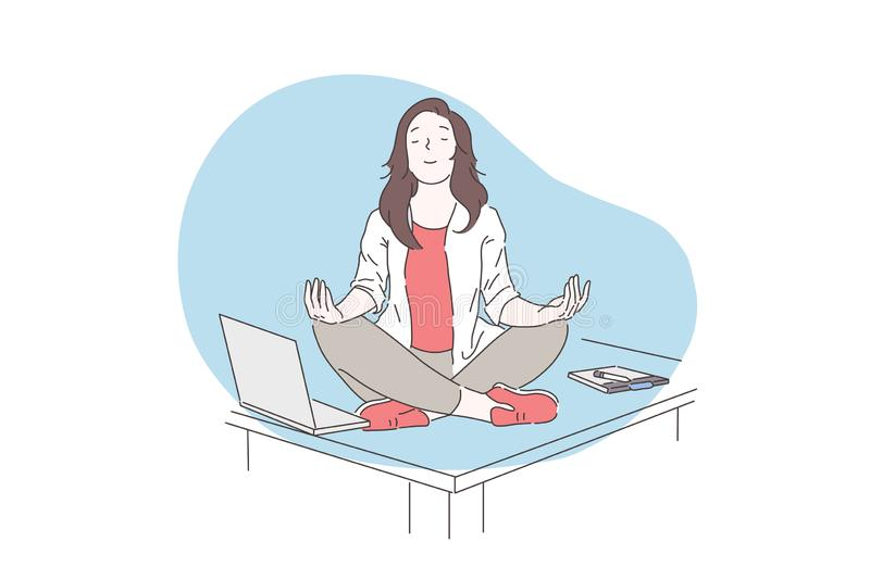 Mindfulness, meditation, mental health concept. Happy business woman or young girl meditating on the desktop in the office. Vector flat design vector illustration
