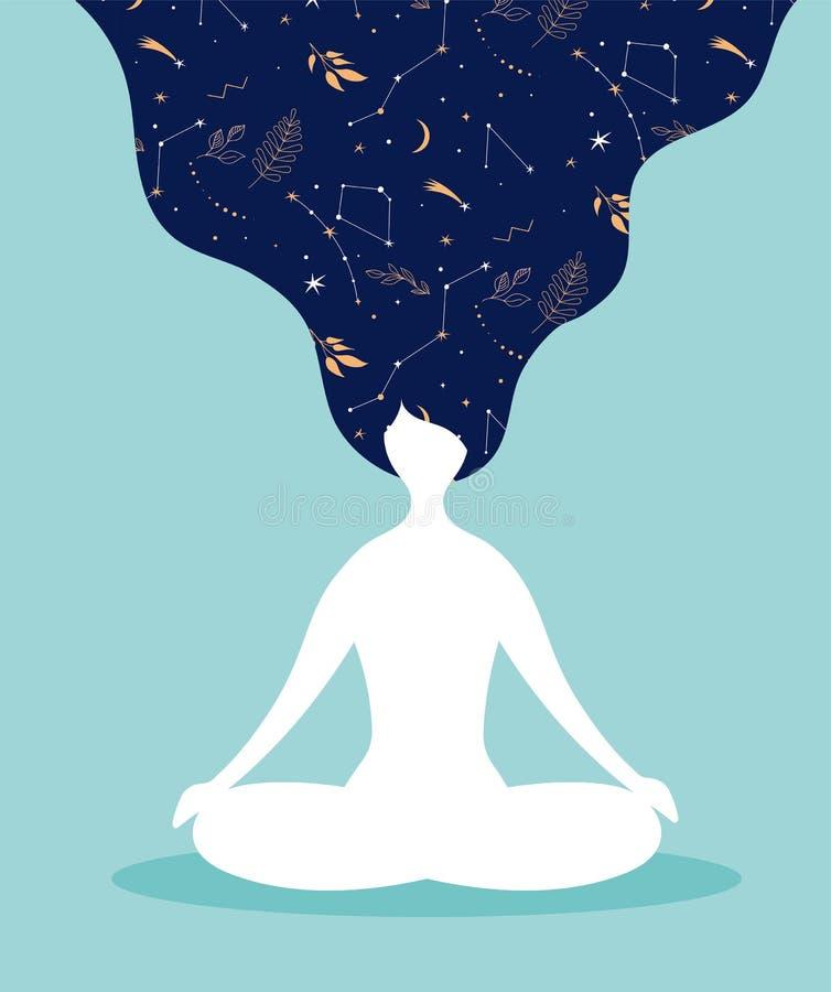 Mindfulness, medytacji i joga tło w pastelowych roczników kolorach, - kobiety siedzi z krzyżującymi medytować i nogami ilustracja wektor