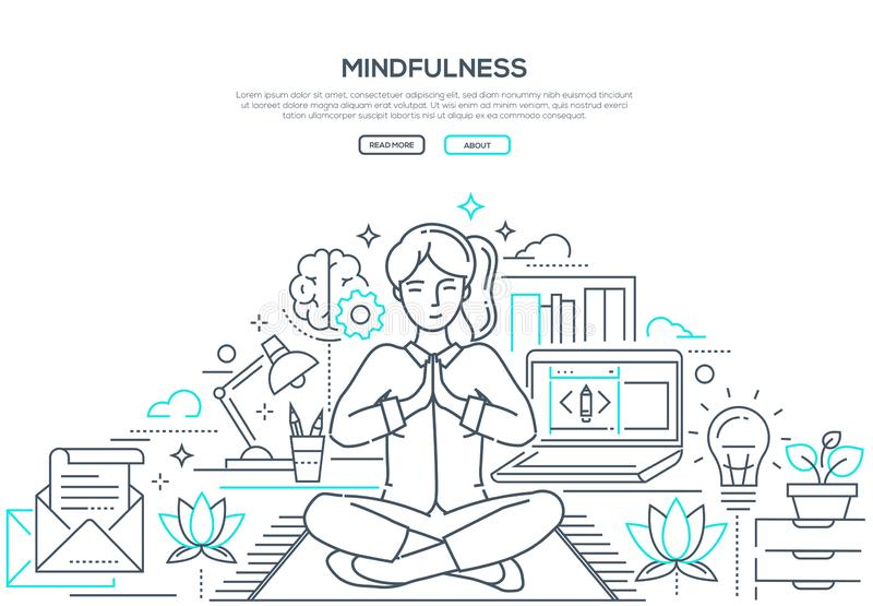 Mindfulness - modern line design style web banner. On white background with copy space for text. Composition with a woman meditating in lotus position at work royalty free illustration