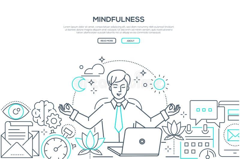 Mindfulness - modern linje baner för designstilrengöringsduk royaltyfri illustrationer