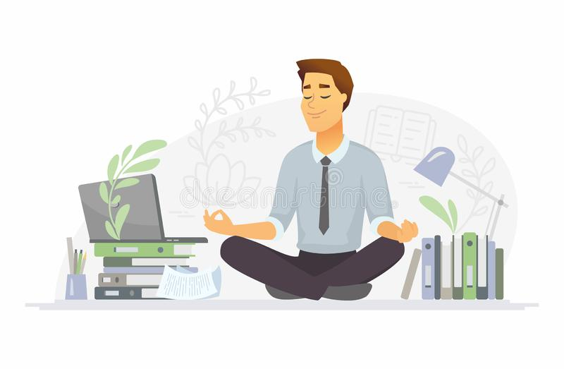 Mindfulness - modern vector cartoon people characters illustration. On white background. A composition with a businessman meditating in lotus position at work vector illustration