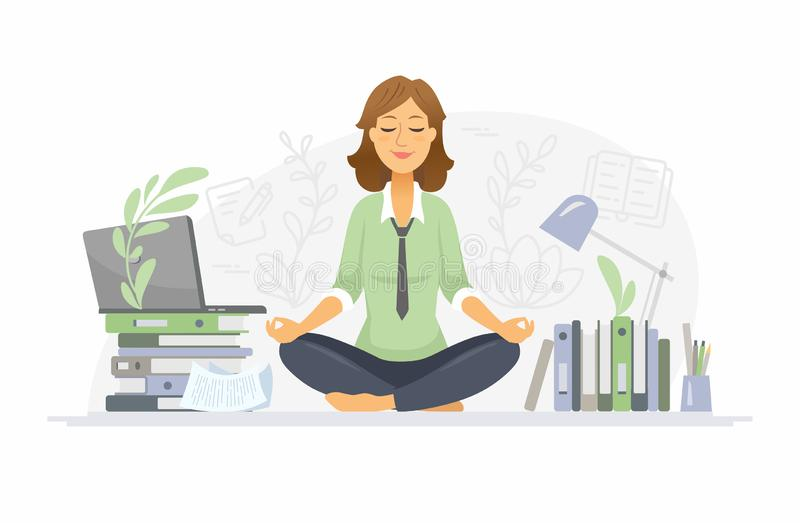 Mindfulness - modern vector cartoon people characters illustration. On white background. A colorful composition with a woman meditating in lotus position at stock illustration