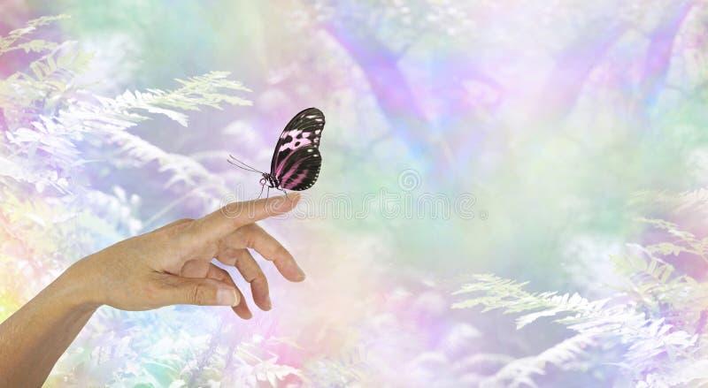 Mindfulness moment z motylem obraz stock