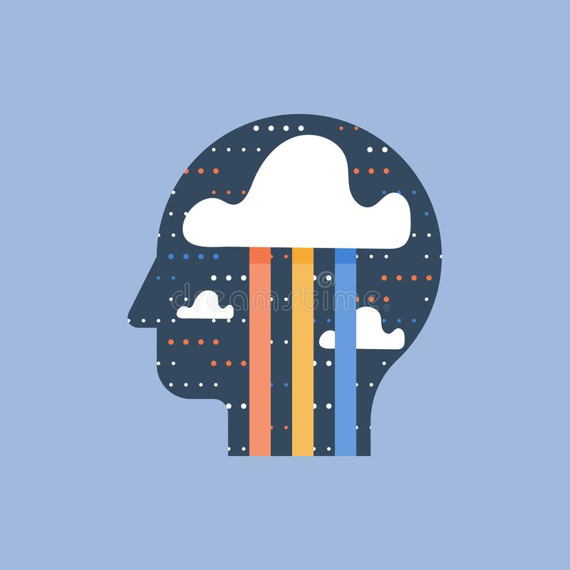 Mindfulness och positivt tänka, kläckning av ideerbegrepp, kreativitet och fantasi, lycka och godalynne stock illustrationer