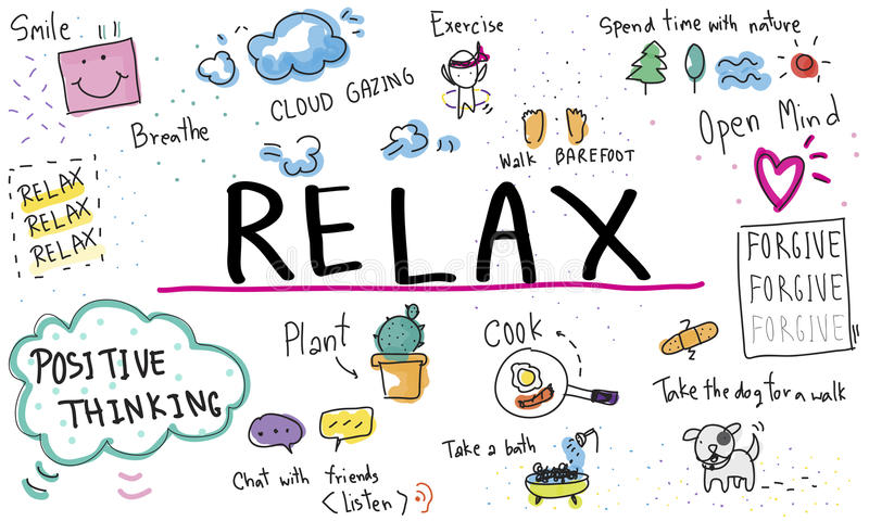 Mindfulness Optimism Relax Harmony Concept. Mindfulness Optimism Relax Harmony Positive Thinking royalty free illustration