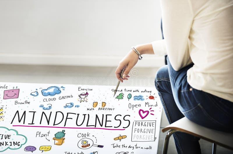 Mindfulness optymizm Relaksuje harmonii pojęcie zdjęcie royalty free