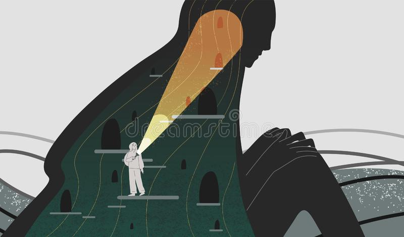 Mindfulness and self analysis flat vector illustration. Woman with flashlight searching spirit depth cartoon character. Positive psychology and self awareness vector illustration