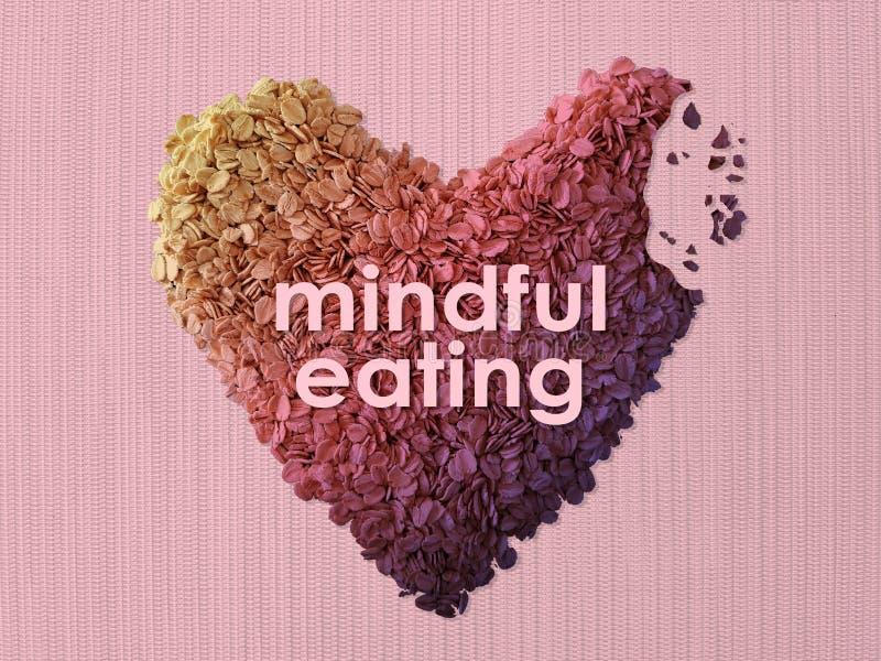Mindfulness som äter begrepp genom att använda havretuggan royaltyfri foto