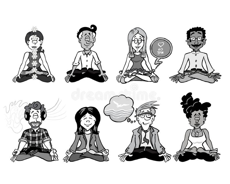 0003 Mindfulness complete team BW. Eight characters sitting down in lotus position and practicing meditation, yoga, or mindfulness royalty free illustration