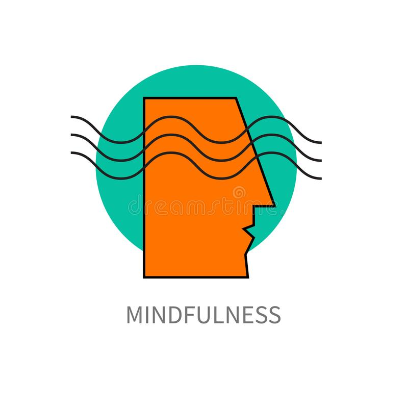Mindfulness vector icon. Mindfulness. Icon head of man with wave, psychology, imagination, mind, brainstorm Vector illustration royalty free illustration