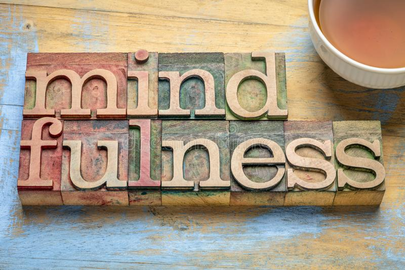 Mindfulness word abstract in letterpress wood type. Mindfulness word abstract  or banner - awareness concept - text in letterpress wood type printing blocks royalty free stock photos