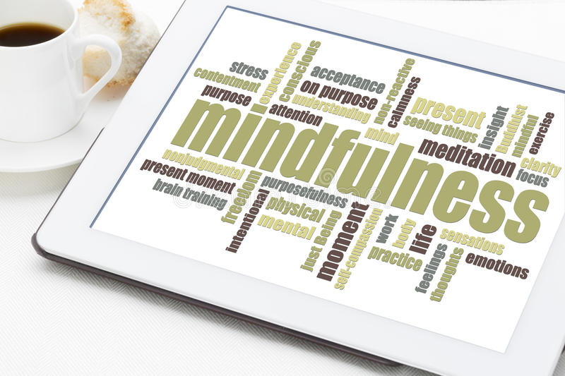 Mindfulness word cloud. On a digital tablet with a cup of coffee royalty free stock photography