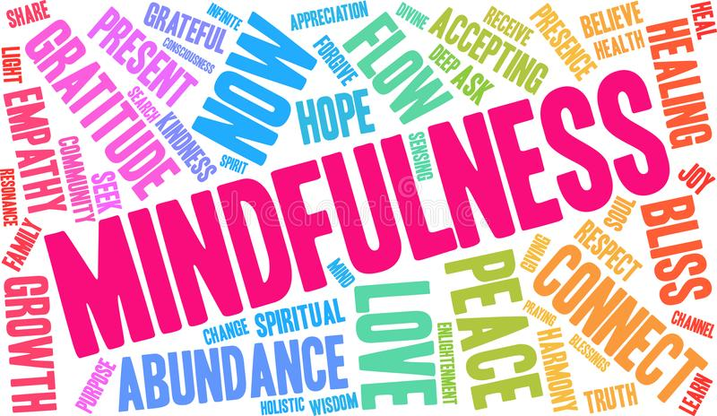 Mindfulness Word Cloud. On a white background stock illustration