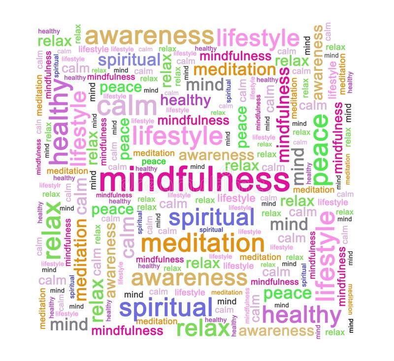 Mindfulness word tag concept. A word tag or cloud tag of the word mindfulness or concept of mindfulness stock illustration