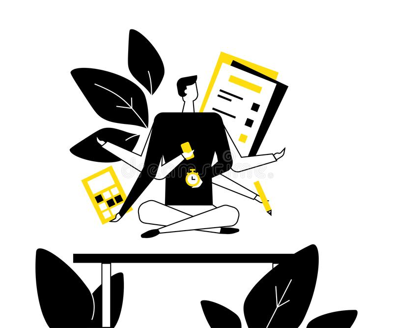 Mindfulness at work - flat design style illustration. Black, white and yellow composition with a businessman, male manager meditating in the office, trying to stock illustration