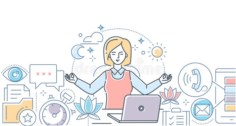 Mindfulness at work - modern line design style illustration. On white background. A colorful composition with a businesswoman meditating in the office, sitting vector illustration