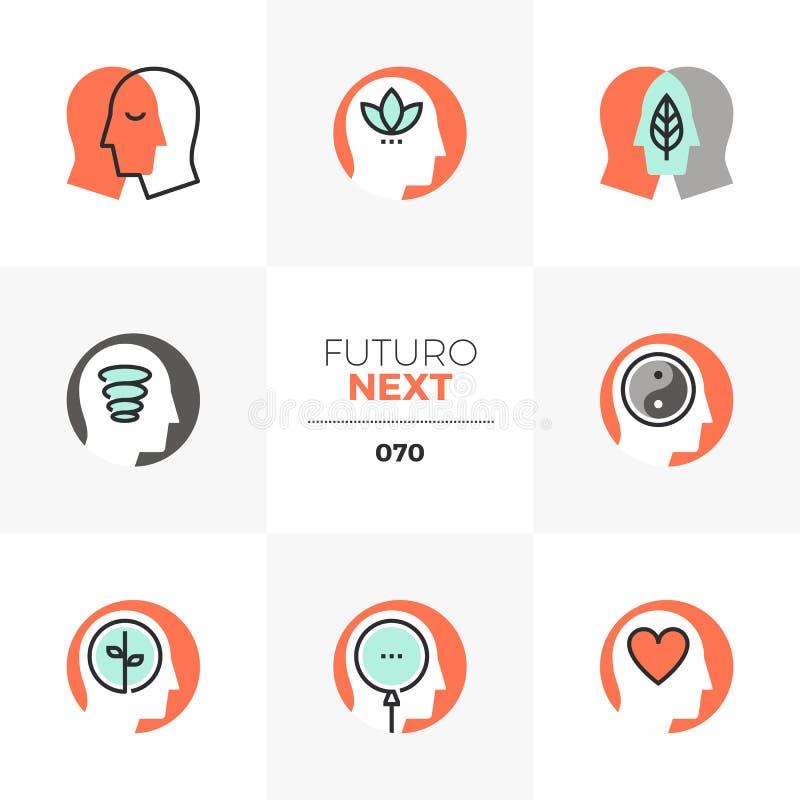 MindfulnessFuturo nästa symboler royaltyfri illustrationer