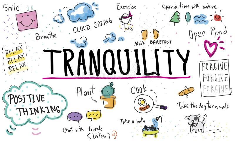 Mindfulnessoptimism kopplar av Harmony Concept royaltyfri illustrationer