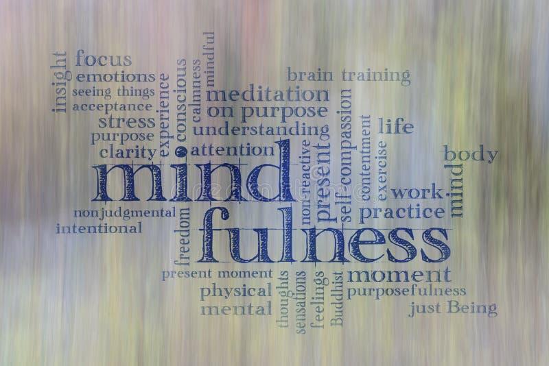Mindfulnessordmoln arkivfoto