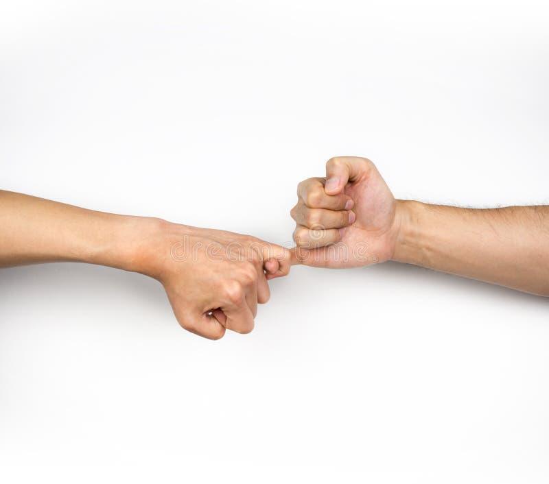 Mindinho jure, prometa o gesto de mão no fundo branco fotografia de stock royalty free