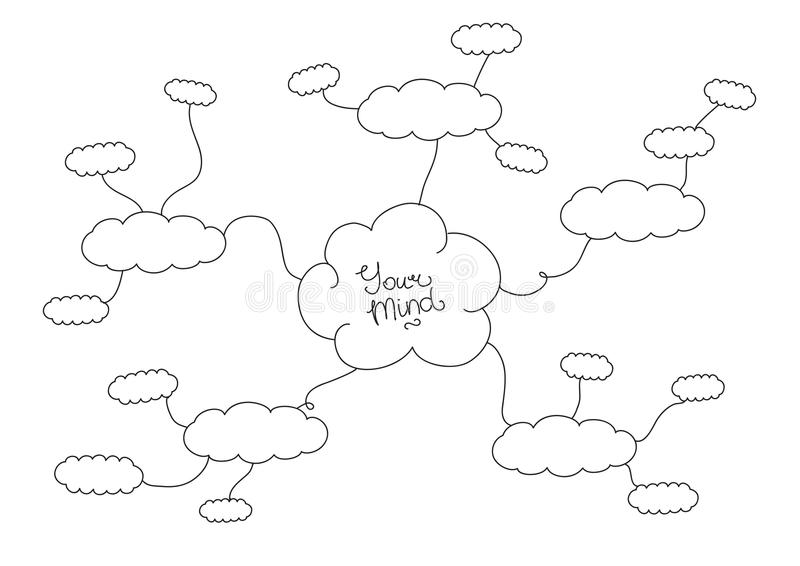 Mindmap, hand drawn scheme infographic design. Hand drawn black and white mindmap design stock illustration